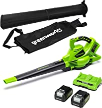 Greenworks Tools Cordless Leaf Blower and Vacuum 2-in-1 GD24X2BVK4X (Li-Ion 2x 24V 321km/h Air Speed Collection Bag Speed ...