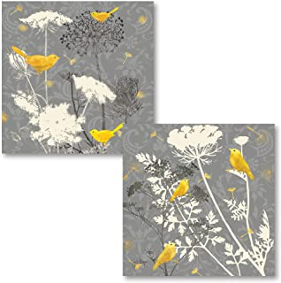 Gango Home Decor Gray Meadow Lace I Lovely, Popular Grey and Yellow Bird Set; Two 12X12 Poster Prints