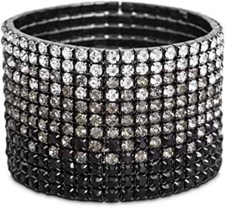 Steve Madden Wide Rhinestone Stretch Bracelet for Women
