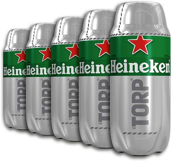 Bariletto di birra 5 x 2 litri, compatibile con il distributore di birra the sub heineken torp 54665