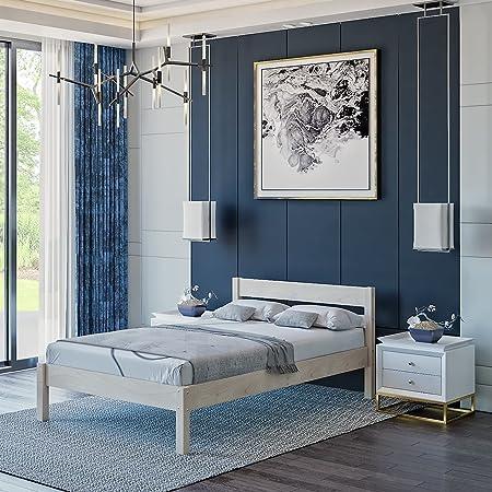 Lit 120x200 cm Kaja, Tête de lit Haute + Lattes – Cadre de Lit en Bois de Bouleau stratifié - Supporte jusqu'à 700 kg - Style Scandinave