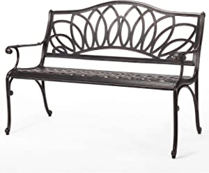 Christopher Knight Home Virginia Cast Aluminum Bench, Shiny Copper