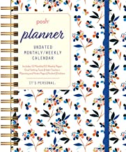 Posh: Planner Undated Monthly/Weekly Calendar: White Tossed Floral