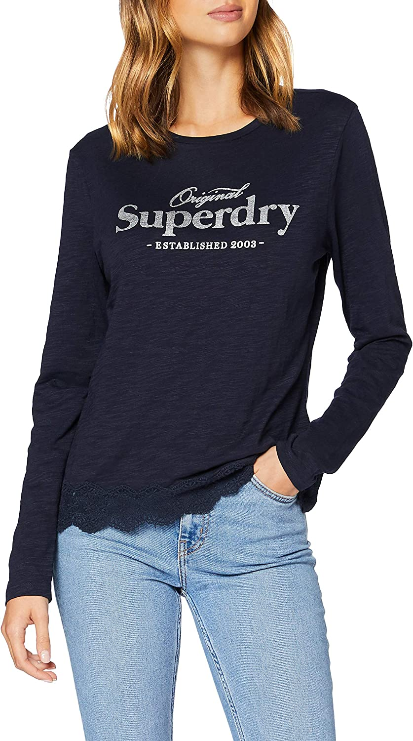 Superdry Graphic Lace Mix Top Sleeved Cheap super special price Long New sales