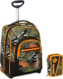 715b4ca43f Seven Trolley Bambino Astuccio - Nero Arancione Camouflage - Spallacci a  Scomparsa! Zaino 35 LT