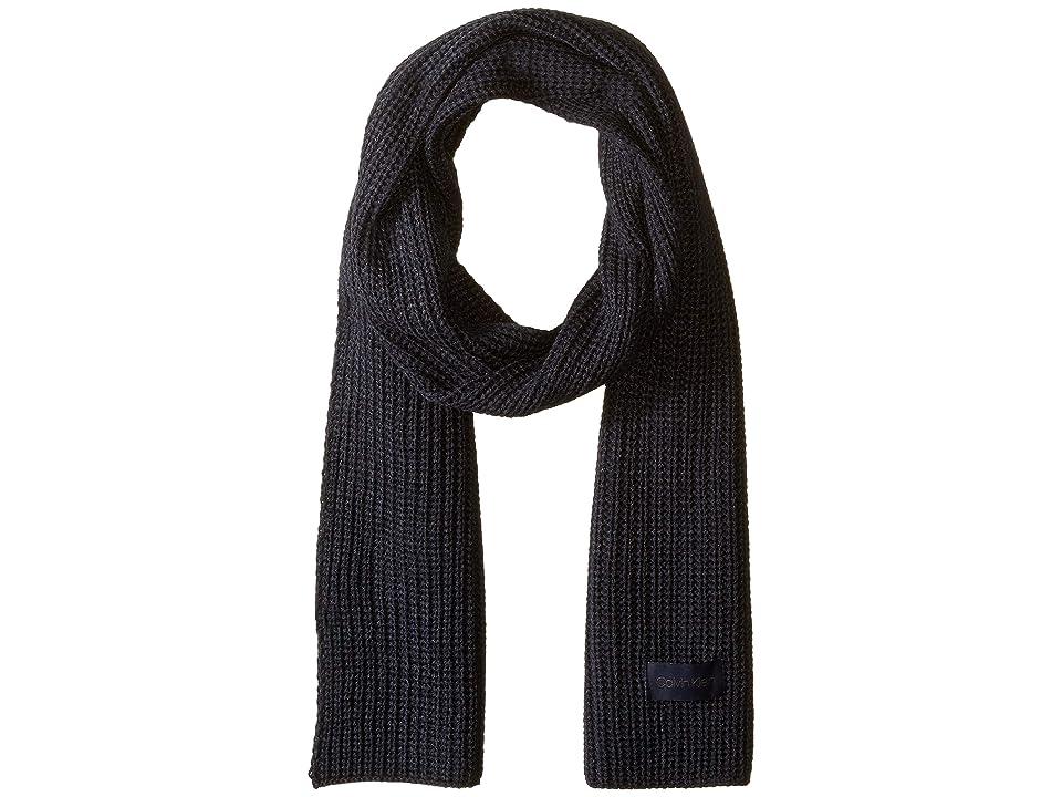 Calvin Klein Chunky Cardigan Rib Solid Scarf (Navy) Scarves