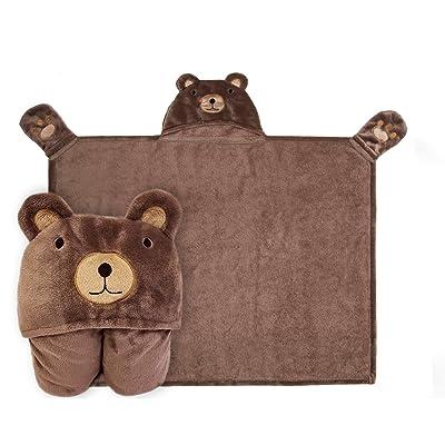 Kids Hooded Blanket,Cute Animal Bear Flannel Fl...