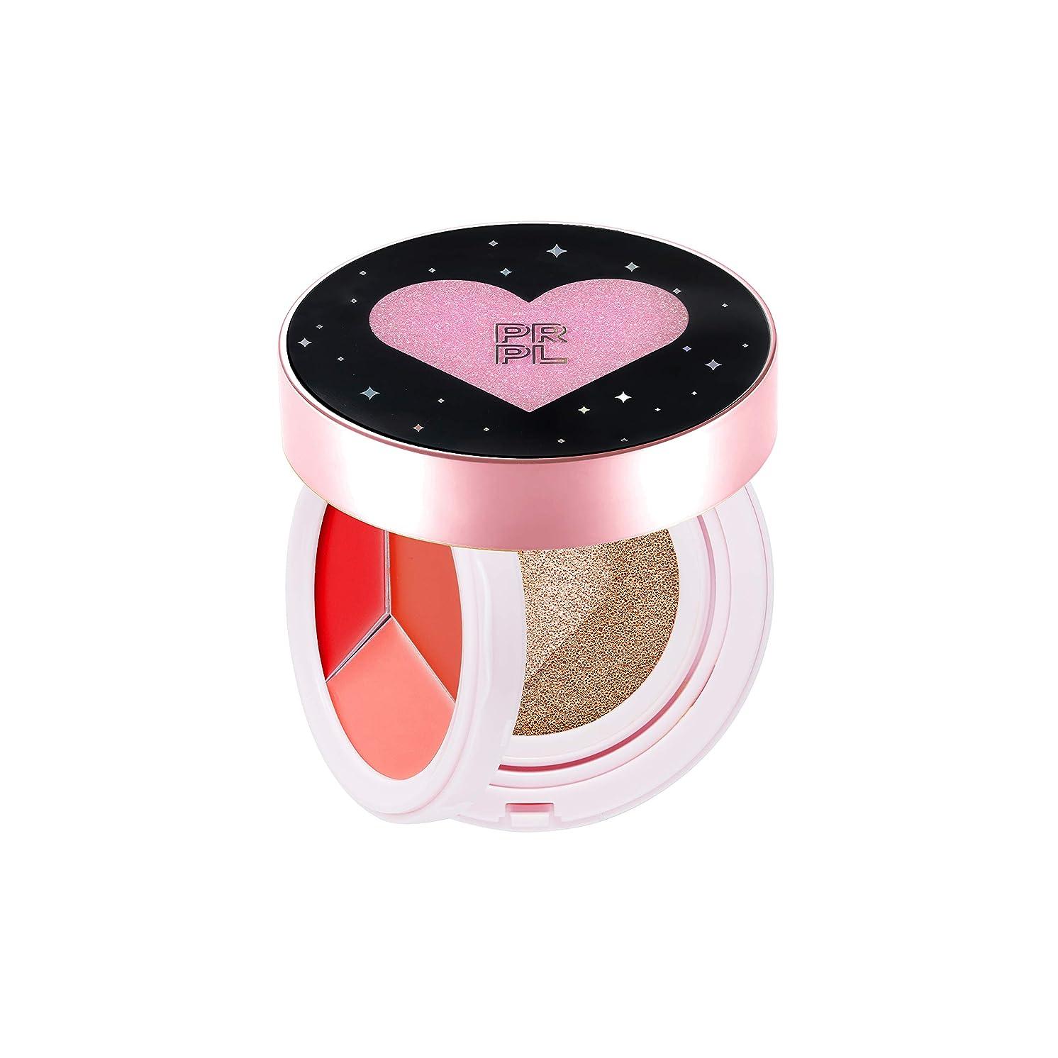 王朝捧げる教えてPRPL Kiss and Heart Double Cushion (Black Edition) #21 Pure Ivory - Korean Make-up, Cushion Foundation, Korean Beauty, Lip and Cheek, Dual Cushion