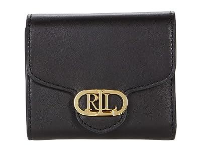 LAUREN Ralph Lauren Leather Logo Compact Wallet (Black) Handbags