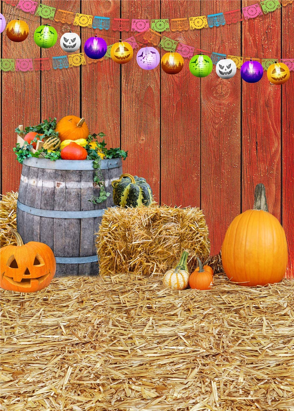 LB Fall Thanksgiving Backdrop Farmhouse Harvest Season Pumpkin Straw Vintage Barn Wood Photography Background for Kids Adult Portrait Photoshoot Props 6x9ft Fabric Seamless,Washable
