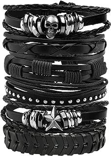 6 Pcs Leather Bracelet Black Brown Braided Wide Wristband Women Men Punk Jewelry Skull