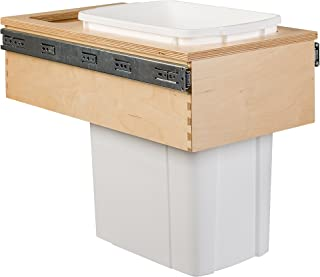 Century Components CASTM11PF Kitchen Pull Out Waste Bin Container - 34 Qt White Single - Baltic Birch - Top Mount, 12