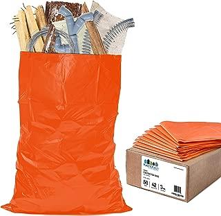 "Plasticplace Contractor Trash Bags 42 Gallon - 3.0 Mil, Orange Heavy Duty Garbage Bag 33"" x 48"" (50 Count)"