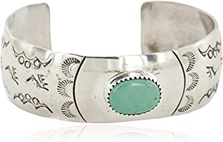 $300Tag Bear Paw Navajo Nickel Certified Natural Turquoise Native Bracelet 13034-5 Made by Loma Siiva