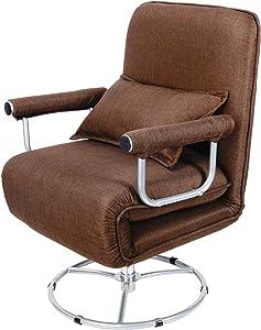 Gemeinsa Sillón Plegable Cama Individual Sofá Giratoria 360° Tumbona Ajustable Relajarse para Sala de Estar Oficina Dormitorio