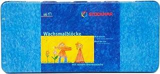 Stockmar 204884266 Wachsmalblöcke 16 Blöcke, wasserfest, aus Bienenwachs, im Blechetui