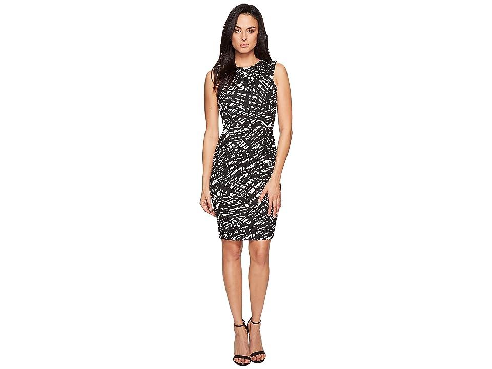 Calvin Klein Sleeveless Textured Sheath CD7E236U (Black/White) Women