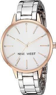 Nine West NW2099RGSB Reloj Análogo para Mujer, color Blanco/Plata