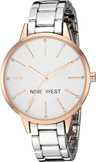 Women's Crystal Accented Rose Gold-Tone and Silver-Tone Bracelet Watch