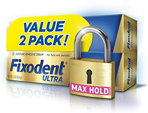 Fixodent Ultra Max Hold Denture Adhesive, 2.2 Ounce, Pack of 2