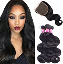 9A Brazilian Body Wave Bundles With Closure Virgin Hair 3 Bundles 100% Unprocessed Remy Human Hair Weave Weft Extensions Natural Color 300g by Originea (16/18/20+14 Inch)