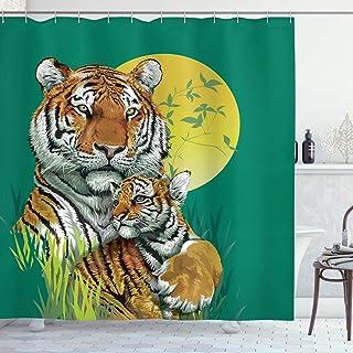 ABAKUHAUS Safari Shower Curtain, Tiger Family in Jungle, Cloth Fabric Bathroom Decor Set with Hooks, 175 cm x 240 cm, Jade...