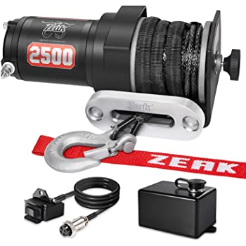 ZEAK 2500 lb. Advanced Off-Road 12V DC ATV/UTV Electric Winch, Synthetic Rope with Mini-Rocker Solenoid Kit