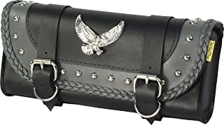Dowco Willie & Max 58245-01 Thunder Series: Synthetic Leather Studded Motorcycle Tool Pouch, Black and Grey, Universal Fit