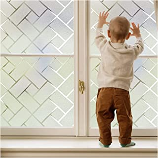 Coavas Non-Adhesive Static Frosted Window Film Stained Glass Window Film Privacy Film for Home Bathroom Living Room 29-inc...