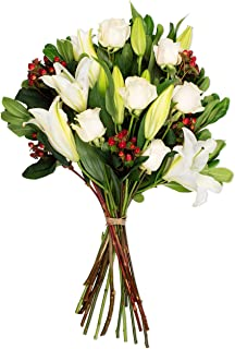 Benchmark Bouquets White Elegance Bouquet (Vase not Included) – Fresh Flowers – Overnight Shipping and Delivery – White Roses, White Oriental Lilies, Red Hypericum, Flower Bouquet, Floral Arrangements