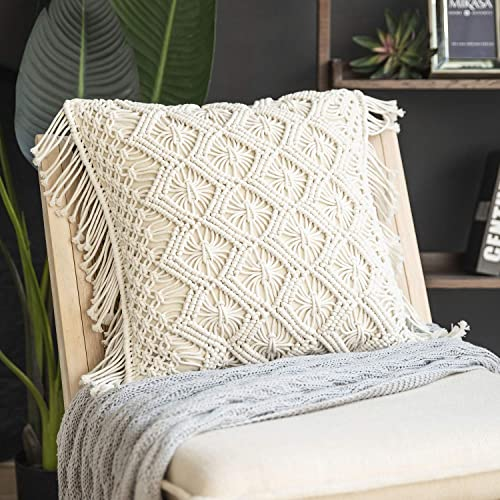wholesale Phantoscope 100% Cotton Handmade Crochet Diamond Woven Boho with outlet sale Fringe Throw Pillow Farmhouse Pillow Insert Included Decorative Cushion wholesale for Couch Sofa Off White 18 x 18 inches sale