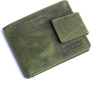 Hammonds Flycatcher Moss Green Vintage Leather Wallet for Men|12 Card Slots| 1 Coin Pocket|2 Hidden Compartment|2 Currency Slots|1 ID Compartment