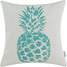 CaliTime Canvas Throw Pillow Cover Case for Couch Sofa Home Decoration Solid Pineapple Sketch Print 18 X 18 Inches Teal