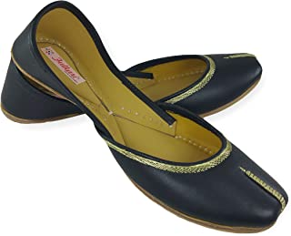 Fulkari Prime Women's Soft Leather Bite and Pinch Free Nappa Leather Comfortable Casual Jutis Ethnic Flat Shoes