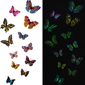 48 Pieces Luminous Butterfly Wall Stickers 3D Butterfly Wall Decal Colorful Removable Adhesive Butterflies for Bedroom Bathroom Living Room Home DIY Wall Art Mural Decoration