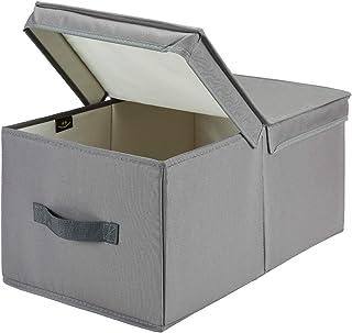 Asvert Boîtes de Rangement Pliables avec Couvercle et Poignées, Coffre Rangement de Vetement en Tissu Non-tissé, Caisse de...