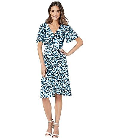 Donna Morgan Short Tie Sleeve Printed Jersey Faux Wrap Dress (Aqua/Asure Blue Multi) Women