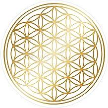 atalantes spirit Blume des Lebens Aufkleber 9cm, 5 Stück Abriebfest - Farbe Gold - Folie transparent Sticker Lebensblume