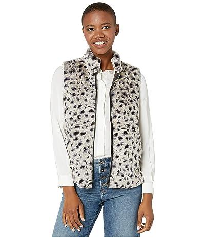 Dylan by True Grit Leopard Faux Fur Mock Zip Vest (Denim) Women