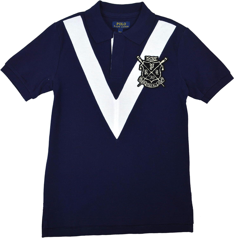 Polo Ralph Lauren Boys Youth Crest V-Stripe Polo Shirt Navy Blue White