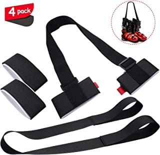 Ski and Snowboard Boot Carrier Strap,  Adjustable Shoulder Straps and 2 Pieces Ski Fastener Straps for Ski Snow Winter Snowboarding Accessories,  4 Pieces