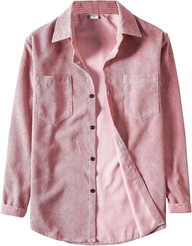 FORUU Men's Long Leeve Shirts 2021,Fall Shirts Casual Corduroy Shirt with Pocket Turn-Down Collar Tops Shirt Jackets