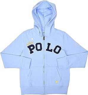 Polo Ralph Lauren Kids Girls 100% Cotton Princess Full Zip Hoodie Sweater Light Blue