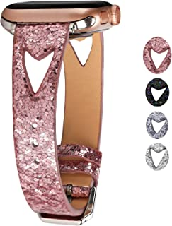 Greaciary Glitter Watch Band Compatible with Apple Watch Series 5/4/3/2/1,Hollow Design Breathable Sparkle Replacement Straps Compatible with iWatch 38mm 40mm 42mm 44mm (Pink, 42mm/44mm)
