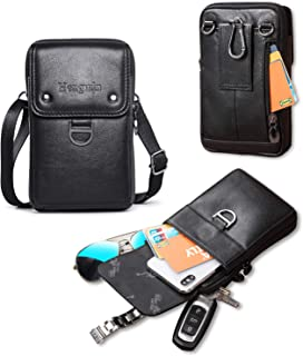 Hengwin Belt Phone Bag Leather iPhone Pouch Crossbody Shoulder Bag for Men Belt Clip Case Belt Loop Holster for iPhone Xs Max 6S 7 8 Plus (Black)