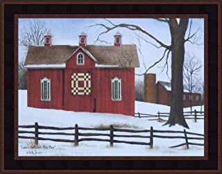 Lover's Knot Quilt Block Barn by Billy Jacobs 15x19 Red Barn Winter Snow Country Primitive Folk Art Print Wall Décor Framed Picture