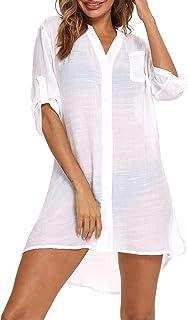 Eilshoji Swimsuit Cover Ups for Women, Bathing Suit Bikini Button Down Long Shirt Beach Coverups for Women Swimwear (Pure White, M)