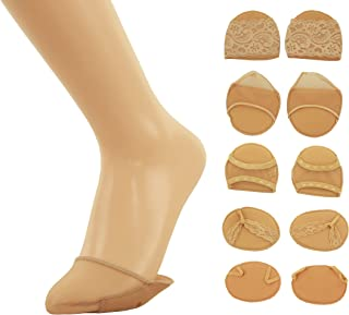 Anlaey 5 Pairs Toe Topper Socks Cotton High Heel Toe Cover No Show Half Socks for Women