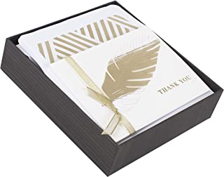 Hallmark Signature Thank You Cards (Gilded Feather, 8 Cards and Envelopes)