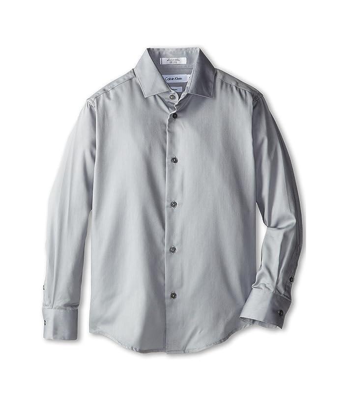 Sateen Shirt (Big Kids) (Light Grey) Boy's Long Sleeve Button Up